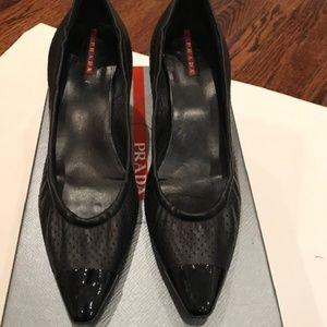 PRADA SPORT black leather pumps size EU 40